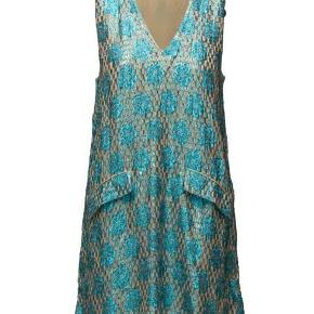 Ganni Emiko Jacquard kjole i blå str 38 aldrig brugt