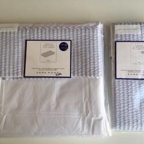 Brand: Zara Home Overlagen og pudebetræk fra Zara Home Kids 100% bomuld.  Måler 160x280 cm.  Pude 60x60 cm.  Er til voksen seng i str.  160 kr.