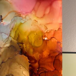 Unika maling/ forskellige medier på A3 papir. Lavet af mig selv, Camilla West Video kan sendes så man bedre kan danne sig et indtryk af form og farver.  Tager også imod bestillinger hvis særlige farver ønskes👍🏻 Maleri plakat