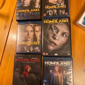 Dvd og Blu-Ray. Homeland sæson 1-6. Emmy Award winner. Golden Globe winner.  Spændende serie! Samlet pris kun 300kr plus porto
