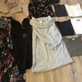 Rigtig fin tøjpakke sælges i str. L/40. Der er lidt forsklligt, som 6 stk. toppe/t-shirt, 2 stk. kjoler (Aldrig brugt) 1 stk. bluse, 1 stk. kort blazer og 1 stk. lang striktrøje. Mærker som fx. Mbym, Vila og H&M.