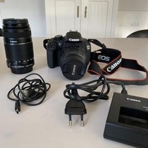 Sælger mit spejlrefleks Canon kamera Eos 1200D, da jeg ikke bruger det. Det har kun været brugt få gang og ser ud som nyt. Jeg fik det i 2016. Kameraet sælges med: -2 stk hukommelseskort; 16gb og 8gb -Usb stik, så det kan sluttes til Pc -batteri plus oplader til batteriet -Objektiv/Canon EF-S 55-225mm f/4-5. 6 IS STM lens -Lækker kamerataske, Lowepro Nova 160AW Samlet pris 2500,-kr Nedsat til 2000,-kr