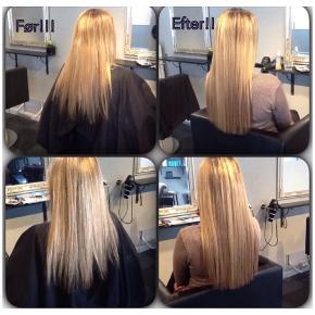 Extensions, sælger kun håret Ægte hår af bedste kvalitet, oprindeligt købt og påsat med flette metoden hos frisør (Capelli Aabenraa).  Der kan sættes clips på hos en frisør. Nyprisen var samlet 7000-.  Velholdte. Brugt ca 6 måneder. Kun vasket med shampoo og balsam fra moroccanoil.  Det lyse er farvekode 10 De lidt mørkere brune er farvekode 8,3 og 7,3.  Mål hvor de er længst: Lange ca. 53-54 Korte ca. 44-45 cm. Vægt ca. 205 gram.  Billedet hvor de er påsat håret, er kun de korte. Kom evt. med et realistisk bud.