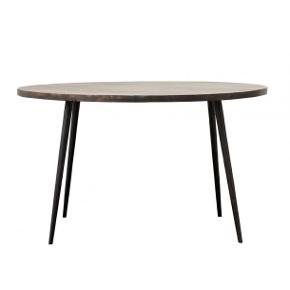 OBS VI ER EN BUTIK, ÅBNER SNART WEBSHOP! Før: 9995,- Nu: 4500,-   Stilrent spisebord fra House Doctor. Bordpladen er fremstillet af mangotræ, som har en flot struktur. De mørke jernben skaber en god kontrast til det sortmalede træ og giver et eksklusivt look. Tilsæt stole i neutrale farver for at holde den klassiske stil, eller tilsæt stole i forskellige farver for at skabe en personlig og anderledes stil. Det runde bord findes også i neutralt mangotræ. Produktinfo:  ProdukttypeSpiseborde MaterialeTræ ProduktfarveSort Højde76 Diameter130 FormRund