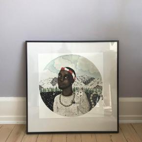 Sælger denne fine og finurlige plakat med motiv af Frank Ocean og abe - den er lavet i akvarel. Jeg husker desværre ikke kunstner. Jeg gav 500kr for den i sin tid. Den måler ca. 37x37 cm.  Plakaten kan afhentes hjemme, eller sendes i paprør til køber :)