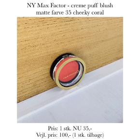 NY Max Factor - creme puff blush matte farve 35 cheeky coral  Pris: 1 stk. NU 35,-  Vejl. pris: 100,- (1 stk. tilbage)   Se også over 200 andre nye produkter, som jeg har til salg herinde :-)