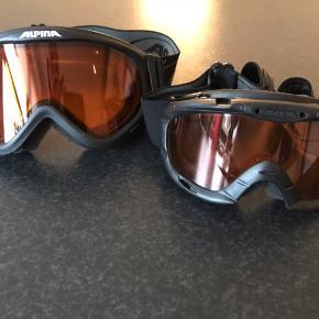 To par skibriller af mærket Alpina.  Et par til børn 4-7 år ca.  Et par til teenager eller kvinde   Pris pr par 75 kr eller samlet 125 kr  Sendes gerne mod betaling og med dao