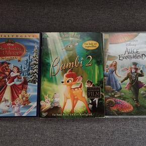 3 stk dvd film for 10 kr. Bambi 2 Skønheden og udyret, den fortryllede jul Alice i eventyrland