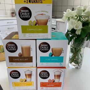 Hejsa, Jeg sælger fem æsker af 16 Dolce Gusto kaffekapsler, da vi ikke har den slags kaffemaskine. Alle fem æsker er naturligvis uåbnet.  De 5 æsker koster normalt omkring 280,- Jeg sælger dem alle for 135,-  Sælges KUN samlet.   - Kan sendes hvis det ønskes