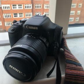 Canon EOS 600D spejlrefleks kamera. Har i nogle ord været en trofast følgesvend på mine rejser, men det er på tide, der får ny ejer. Medfølger: lille taske, lader, SD-kort, lille udløser. Har muligvis ikke den originale snor til kameraet, kun den på billedet, men vil forsøge at lede efter den. Prisen er til at forhandle med :)