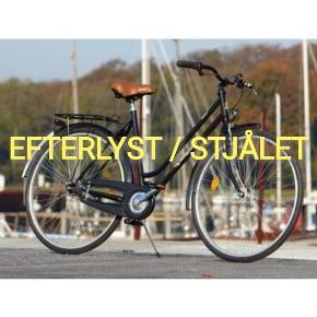 Greenfield Turistcykel. 3 gear, 54 cm.   Min cykel er blevet stjålet foran Sigurdsgade 16A på Nørrebro aftenen/natten til d. 18/10-19.  Kendetegn: sort trådkurv påsat bagagebæret med hvide strips. Misfarvet brunt sæde, muligvis stadig med lilla sæde cover. Manglende hammerhovede på ringeklokke.   Hvis nogen det næste stykke tid ser ovenstående cykel blive solgt på Trendsales, DBA eller andensteds, så kontakt mig gerne.  Stelnummer: WOD45534H  Meldt stjålet til politiet.