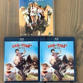 De to Blu Ray (far til fires vilde ferie) sælges til 20kr stk.  Min søsters børn er alm DVD sælges til 10kr   Pris er plus fragt. 37kr med dao