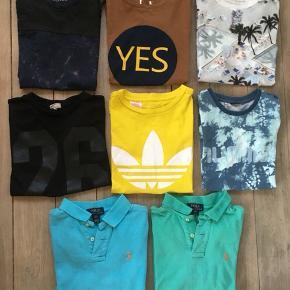 8 lækre t-shirts/poloer str. 10-12 år NUM, NSN, GMB  Adidas, Mads Nørgaard, Ralph Lauren, Molo, Hummel m.fl.  Obs: den blå RL har et lille bitte hul bagpå  Samlet 400 kr. pp/dao