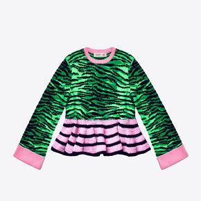 🐅 Tyk trøje i de specielle Kenzo-farver med bredde ærmer.  🐅 Ingen slidtage. 🐅 Kan også passes af en M, da der er lidt stræk i stoffet.  🐅 Fra kollektionen Kenzo X H&M
