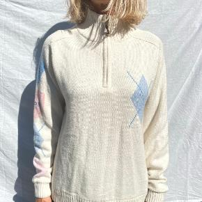 sødeste vintage uld strik zip up med argyle tern i babyblå og babylyserød fra mærket Daily Women 🥰