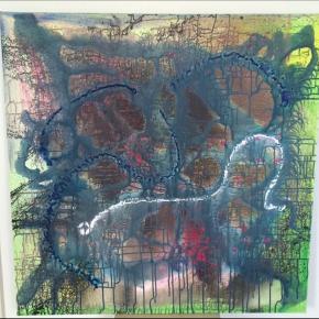 1 x 1 meter abstrakt maleri. Akryl på hørlærred Jeg kan levere det til en lille pris