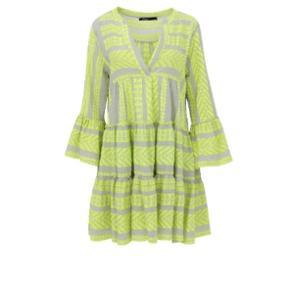 Super lækker kjole fra Devotion - den originale og oprindelige af slagsen. Nypris 1500,-. Meget kraftig kvalitet - neon grøn og beige. Kan bruges som kjole og over bukser.  Kan passes af str S/M. Bytter ikke.