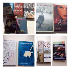 - Sofies Verden                                                  - hardback, god, lidt slid   ~ 10 kr.➡️solgt❗️ - Jan Kjærstad          - Forføreren                    - paperback, god stand     ~ 10 kr.  - Ib Spang Olsen      - Ung mand i fyrrerne    - hardback, som ny            ~ 15kr.  - Ib Michael               - Vanillepigen                 - paperback,  fin stand       ~ 10 kr.➡️solgt❗️  - Morten Ramsland  - Hundehoved                - paperback,  fin stand       ~ 10 kr.  2 bøger af Jane Aamund i Hardback. - Naboens Søn - hardback, god stand ~  20kr.➡️solgt❗️  - Kamæleonen - Hardback, god stand ~  25 kr.  2 bøger af: Johannes Møllehave Venstre: Mit livs vendepunkter - brugt, men fin stand derefter. ~ 15 kr. Højre:     Tusind fluer med eet smæk - lettere slidt, men ellers intakt ~ 10 kr.  Steven King: Atlantis - Hardback, lidt slid på omslag, ellers fin stand. 30 kr.➡️solgt❗️  Kerstin Ekman: Guds barmhjertighed. 15 kr.  Plus porto.
