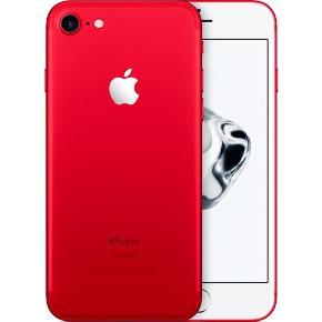 Rød iPhone 7, 128 GB, købt i november 2017 for kr. 5800,- Sælges udelukkende fordi jeg har fået en ny. Eneste brugstegn er lille hak foran. Æske haves, men oplader og høretelefoner medfølger ikke. Ca. 1800,-