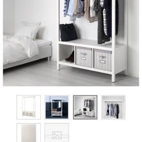 Åben garderobe skab fra Ikea Hemnes serien.   Medfølger de 3 kasser til opbevaring, som ses på billedet.  Købt juni 2019 og står som helt nyt.  Sælges kun grundet flytning.   Mål: 120x50x197cm