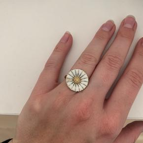 """Sælger denne fine ring fra Georg Jensen. Pga. flytterod kan æsken ikke findes. Ringen er brugt, men har stadig gode år i sig. Den har et mærke på det ene side af """"bladet""""."""