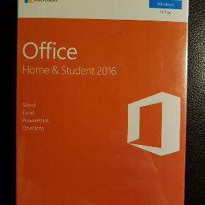 Har 2 stk til stykpris a 700 kr.  Pris andre steder set op til mellem 1199 kr - 1549 kr.  Ubrudt emballage.   Microsoft Office Home and Student 2016 - bokspakke - 1 PC produktinfo  Office værktøjerne som du kender og stoler på  Microsoft Office Home and Student 2016 er en samling af produktive værktøjer, der er den perfekte hjælp til at få klaret alle dine kontor- og arbejdsopgaver. Pakken indeholder programmerne Microsoft Word, Microsoft OneNote, Microsoft Excel og Microsoft Powerpoint, og med dem ved hånden kan du skrive opgaver og rapporter, tage noter, lave avancerede udregninger og flotte præsentationer. Arbejdet kan du gemme i skyen, så du og dine studiekammerater kan tilgå det alle steder fra på ethvert givent tidspunkt, og I kan endda samarbejde om det i realtid fra forskellige lokationer. Lige så snart du/I logger på Office, er alle dokumenterne og indstillingerne klar, fordi lagringen foregår i skyen på tværs af enheder - det være sig PC, tablet, mobil.  Nøglefunktioner  Samarbejde i Word og PowerPoint giver mulighed for at lave samtidige rettelser fra forskellige enheder.  Tell Me guider dig hurtigt til den funktion, du har brug for.  Smart Lookup, der er drevet af Bing, finder informationer fra internettet uden at forlade programmet.  Et udvalg af temaer giver dig den Office oplevelse, som passer til dig.  Digital Ink, touch og virtuelle tastaturer er nu understøttet i tillæg til traditionelle mus og keyboards.  Produktegenskaber  Nemt samarbejde i realtid  Arbejd sammen med dine studiekammerater i online og se hinandens ændringer i realtid med Office Online og OneDrive. Det er slut med at maile gamle versioner frem og tilbage mellem jer.  Optimeret værktøj til noter  Indtast eller skriv noter, gem websider, optag audio og video, indsæt regneark og meget mere med OneNote, der er tilgængelig fra alle dine enheder.  Værktøjerne der giver din skole succes  Gør lærere og studerende i stand til at nå deres mål med en dynamisk samling af læringsværktøjer. Stil