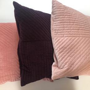 Skønne velour puder fra H&M home. Har dem i 3 forskellige farver. Har 5 puder i alt - 2 i lilla, 2 i lys rosa og 1 i rosa. De måler 50*50 cm.
