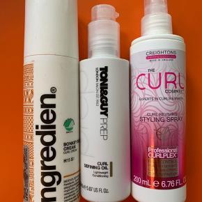 Alle 3 er brugt 1-2 gange   Ingrediens Bonkey blå Cream   Toni&guy Curl definning Oli   The curl Company styling spray