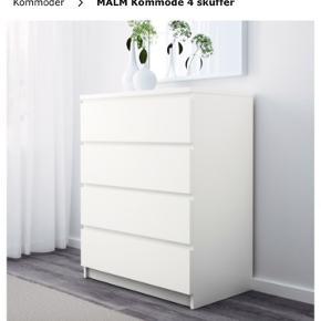 Velholdt hvid MALM kommode fra IKEA med 4 skuffer. Bud modtages