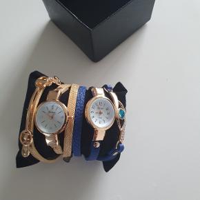 2 dameur Pris : 120 kr Guld og blå ur med nye batterier Længde 55 cm,Urkasse diameter: 23 mm #30dayssellout