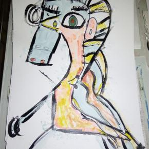 Maleri malet på tykt papir i A3 størrelse Uden ramme  'He & She '  Se mine andre malerier på mine andre annoncer :)