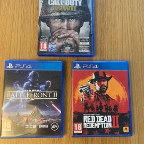 Sælger følgende PS4-spil: - Red Dead Redemption (200 kr) - Call of duty WWII (100 kr) - Star Wars Battlefront 2 (100 kr)  Alle spil fremstår som helt nye og fejler intet.
