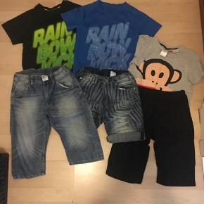 Tøjpakke str. 140, brugt få gange, 2 par Cowboy Shorts, 2 stk. T-shirts, 1 sæt sommer nattøj