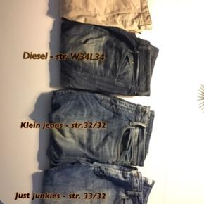 Jeans brugt ganske lidt.  Pris pr. stk: 75 kr.   Der er i mærkerne:  Just Junkies  Calvin Klein  Hugo BOSS  Diesel   Se billederne for størrelserne på de pågældende jeans.