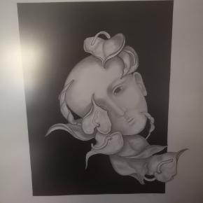 Smukt litografi / tegning. Billedet måler ca 48.5 x 36.5 cm inkl ramme