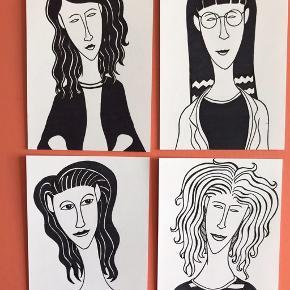 4 smukke damer  Kan laves som print i str: A4: 100kr A3: 150