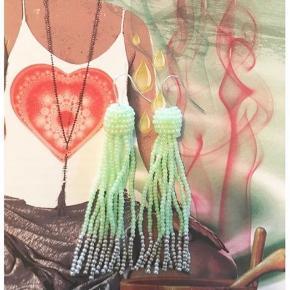 Mint perleøreringe / tassels. Håndlavede. Med sølv ender 🌸  Perfekte til sommer 💕   100 pp.   #trendsalesfund