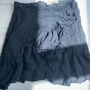 Ingen tegn på slid, skal nok lige stryges 😅 sort med mørkeblå plettet mønster