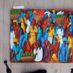 Originalt Oliemaleri fra Haiti's hovedstad Port-au-Prince. Måler 50x60cm. Malet af J. Guervil. Sender gerne flere billeder af maleriet, hvis flere detaljer ønskes.