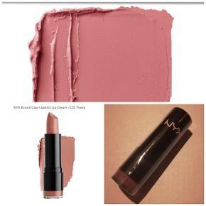 Ny og plomberet nyx læbestift i farven Thalia, som minder utroligt meget om macs Faux. Flot nude, støvet rosa.
