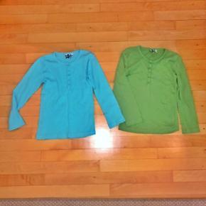 Pretty Sille 2 langærmede bluser sælges samlet. Str 122-128 cm. Den grønne er ny den turkise næsten ny. Sendes for 37 kr