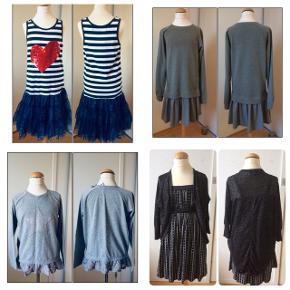 Sælger dette pigetøj, bestående af en bluse og 3 stk kjoler. Blusen er helt ny, aldrig brugt, kjolerne er brugt 1-2 gange. Kommer fra et ikke ryger hjem. Kan afhentes i 2990 Nivå eller sendes mod betaling.  Billede 1: alle de ting jeg sælger Billede 2 øverst: kjole med farveskiftende palietter fra Desigual. Str. 146/152(11/12 år). Sælger den til 250kr. Billede 2 nederst: kjole fra Marc O'Polo. Str. 152(12 år). Sælger den for 250kr. Billede 3 øverst: bluse fra Friboo, str. 134/140(9/10 år). jeg for 60kr. Billede 3 nederst: kjole inkl cardigan fra D-XEL + et par stømpebukser fra Mala. Str. 140(10 år). Sælger det for 195kr