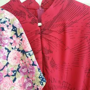 Vintage kjole pink med lidt sort grafisk mønster. Kr 250. Mange fine detaljer. Ca str 38- 40