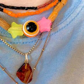 Traperler og evil eye halskæde med to stjerner 🧿⛓
