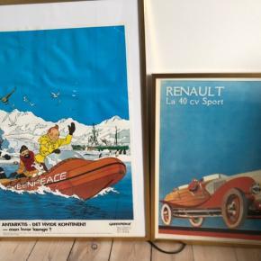 Hey. Sælger disse to plakater. Den ene er en TIN TIN plakat og en anden er en gammel Renault.  De sælges uden rammer.  Kontakt mig gerne for spørgsmål