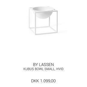 Hvid Bowl ubrugt i kasse  By Lassen 14 x 14 cm   Pris: 750,-kr