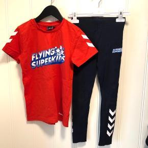 Leggings og t-shirt fra Flying Superkids.   T-shirt str. 128 og leggings str. 122.   Brugt men i rigtig fin stand.   Sender gerne med DAO, men du er også velkommen til at hente selv - kontaktfri med mobilepay😊