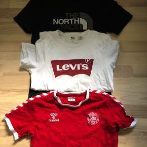 Blandet t-shirts  Danmark tshirt str 14 Levis tshirt str xs The north face tshirt er str xs  Alle sammen fitter en 164 ca