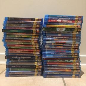 Her sælges hele Walt Disney klassikere der er udgivet på Blu-ray i alt 47 film. Dansk udgave. * = Ny i folie.   1: Snehvide og de syv små dværge. (Diamond edition) Dvd+Blu-ray.* 2: Pinocchio (70 års jubilæums udgave, 2-disk speciel udgave) Dvd+Blu-ray.* 3: Fantasia (Special udgave)* 4: Dumbo (Special udgave) Dvd+Blu-ray.* 5: Bambi (Diamond edition udgave) Dvd+Blu-ray. Set 1 gang.  12: Askepot (Diamond edition udgave + Papcover) Dvd+Blu-ray. Set 1 gang.  13: Alice i eventyrland (60 års jubilæums udgave) Dvd+Blu-ray.* 14: Peter Pan. Set 1 gang. 15: Lady og Vagabonden (Diamond edition udgave + Pap cover) Dvd+Blu-ray.* 15: Tornerose (50 års jubilæums udgave, 2-Disk special udgave)* 17: 101 dalmatiner.* 18: Sværdet i stenen. Set 1 gang.  19: Junglebogen (Diamond edition udgave) Set 1 gang.  20: Aristocats. Set 1 gang.  21: Robin Hood.* 22: Peter Plys. (Pooh collection) set 1 gang. SOLGT!  23: Bernard & Bianca.* 24: Mads og Mikkel. Set 1 gang.  27: Oliver & Co.* 28: Den lille havfrue (Diamond edition udgave + Pap cover)* 29: Bernard & Bianca, SOS fra Australien. Set 1 gang.  30: Skønheden og udyret (Diamond edition udgave) Dvd+Blu-ray.* 31: Aladdin. Set 1 gang. 32: Løvernes konge (Diamond edition udgave) Dvd+Blu-ray. Set et par gange. 33: Pocahontas.* 34: Klokkeren fra Notre Dame.* 35: Herkules.* 36: Mulan. Set 1 gang.  37: Tarzan. Set 1 gang. 38: Fantasia 2000 (Special udgave + Pap cover) Set 1 gang.  39: Kejserens nye flip.* 40: Atlantis. Set 1 gang.  41: Lilo & Stitch. Set 1 gang.  42: Skatte-planeten.* 43: Børne brødre.* 44: De frygtløse.* 45: Lille kylling. Set 1 gang.  46: Helt vildt.* 47: Min skøre familie Robinson. Set 1 gang.  48: Bolt. Set 1 gang.  49: Prinsessen og frøen.* 50: To på flugt. Dvd+ Blu-ray. + Pap cover. Set 1 gang.  51: Vilde Rolf. Set 1 gang.  52: Frost.  Set 1 gang.  53: Big hero 6. Set 1 gang.  54: Zootropolis. Set 1 gang.  55: Vaiana. Set 1 gang.   Sælges samlet for 2450 kr.  Kan evt. Sælges delvist.