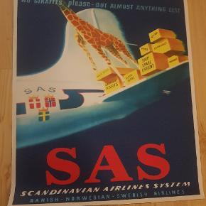 3 flotte plakater fra SAS UDEN FEJL .FRA EN GAMMEL SAMLING. 500 KR PR STK ELLER 1000 KR FOR ALLE 3 .